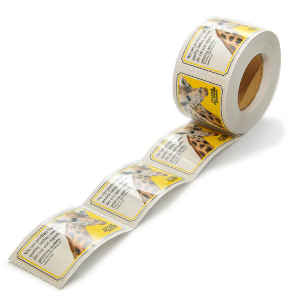perforated custom labels on rolls