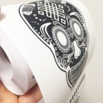 Skull roll stickers or labels