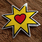 Glossy Coated Heart Design Sticker