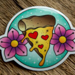 Glossy Coated Full Color Pizza design Sticker