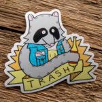 Glossy Coated Die Cut Raccoon Sticker