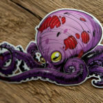 Glossy Coated Full Color Zombie Octopus Sticker
