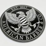 Full Color Glossy Coated Circle Cut Vinyl Stickers for American Barber & Co
