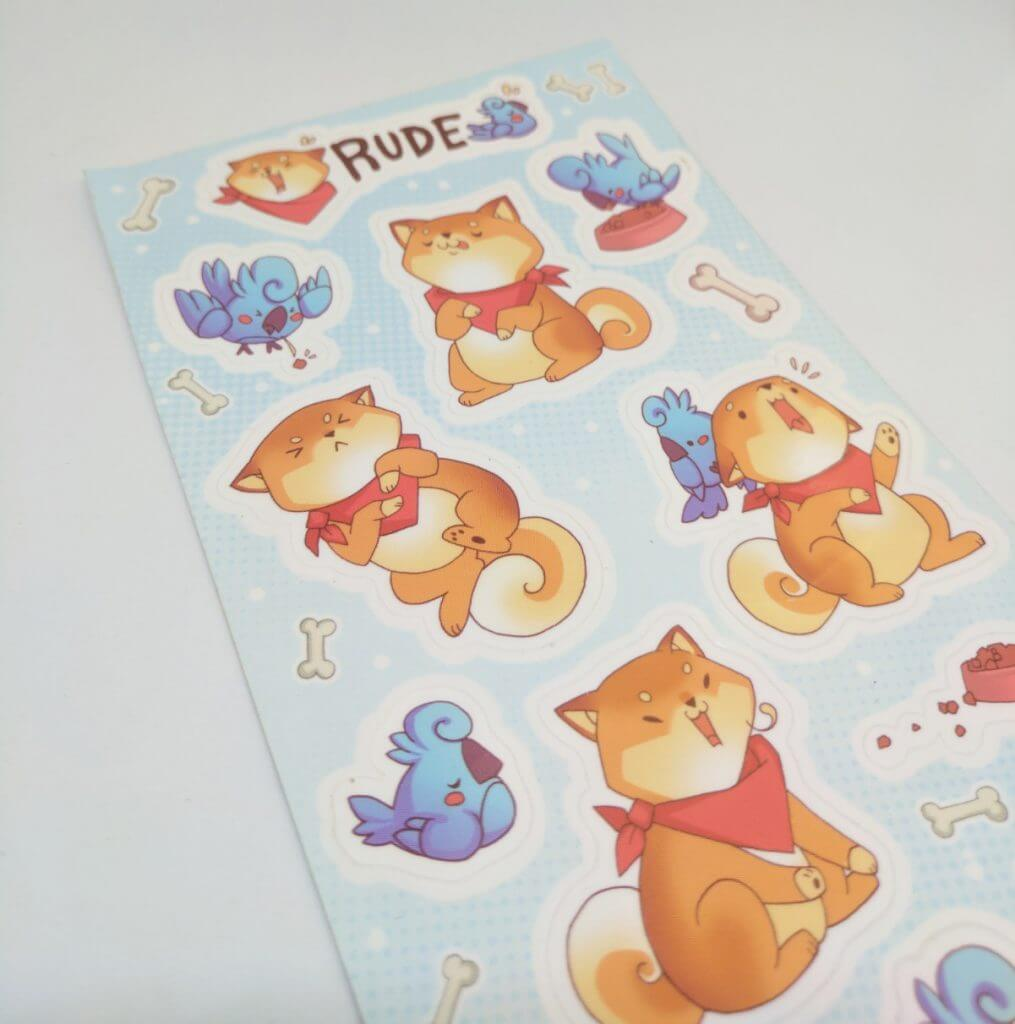 Glossy coated full color kiss cut vinyl sticker sheets for rude