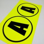 Fluorescent Vinyl Rectangle Cut Stickers