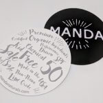 Circle Cut Glossy Coated Vinyl Stickers with Backside Paper Print Manda
