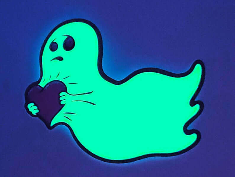 Die Cut Full Color Glossy Coated Glow in the Dark Stickers Ghost