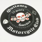 Circle Cut Full Color Glossy Coated Vinyl Stickers Outlaws Motorcycle Club