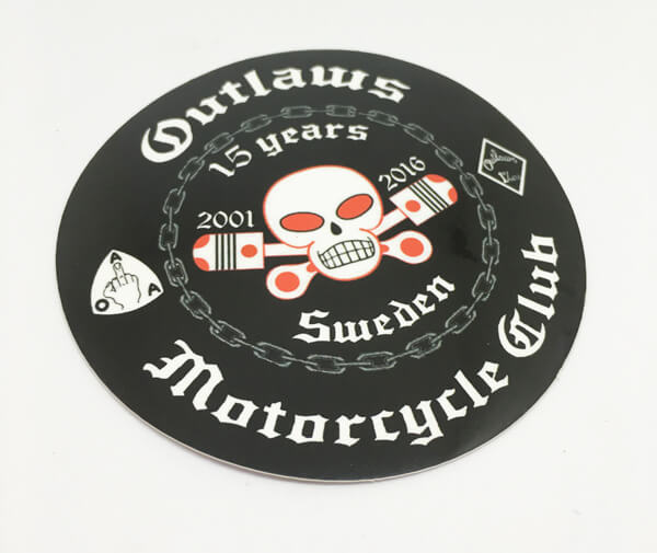 Circle Cut Full Color Glossy Coated Vinyl Stickers Outlaws