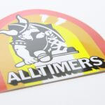 Full Color Glossy Coated White Vinyl Die Cut Sticker Alltimers Rainbow