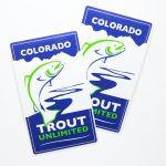 Full Color Backing Paper Rectangle Cut Glossy Vinyl Stickers Trout Unlimited