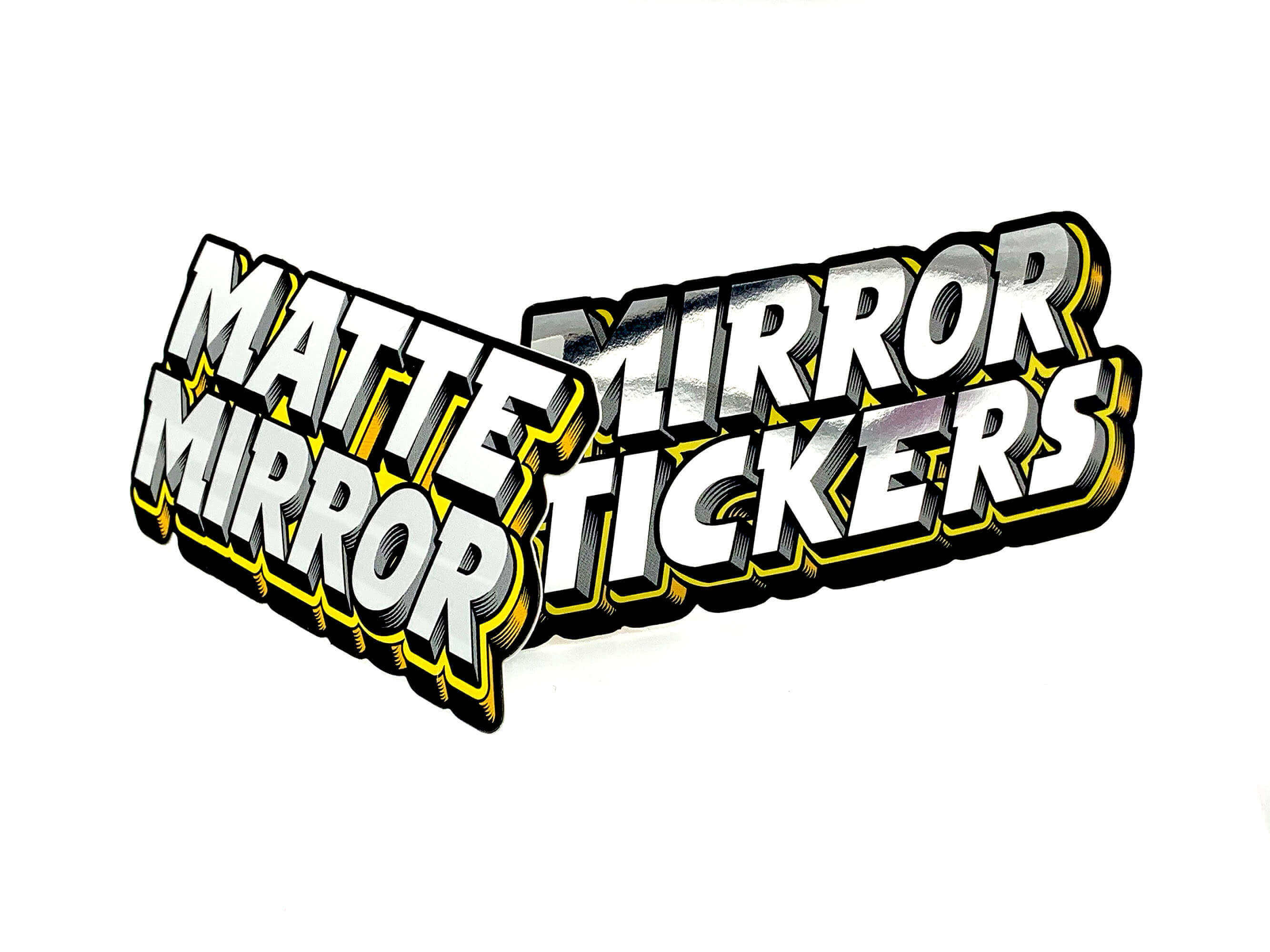 Glossy Silver Foil Sticker VS Matte Silver Foil Sticker on our Mirror Material
